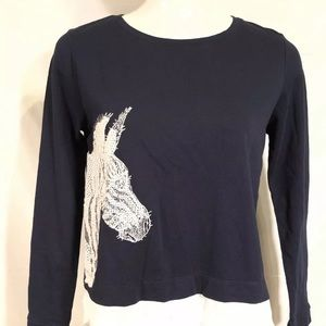 Crown & Ivy 2n1 Top Blouse PM Zebra Embroidered